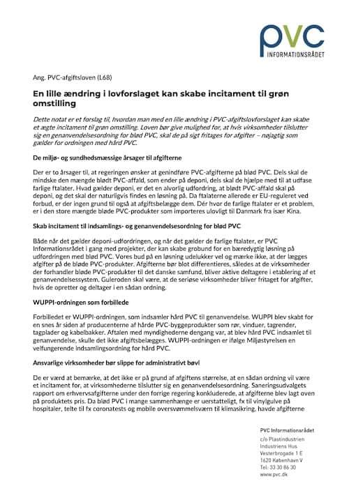 Forslag til differentiering af PVC-afgifterne