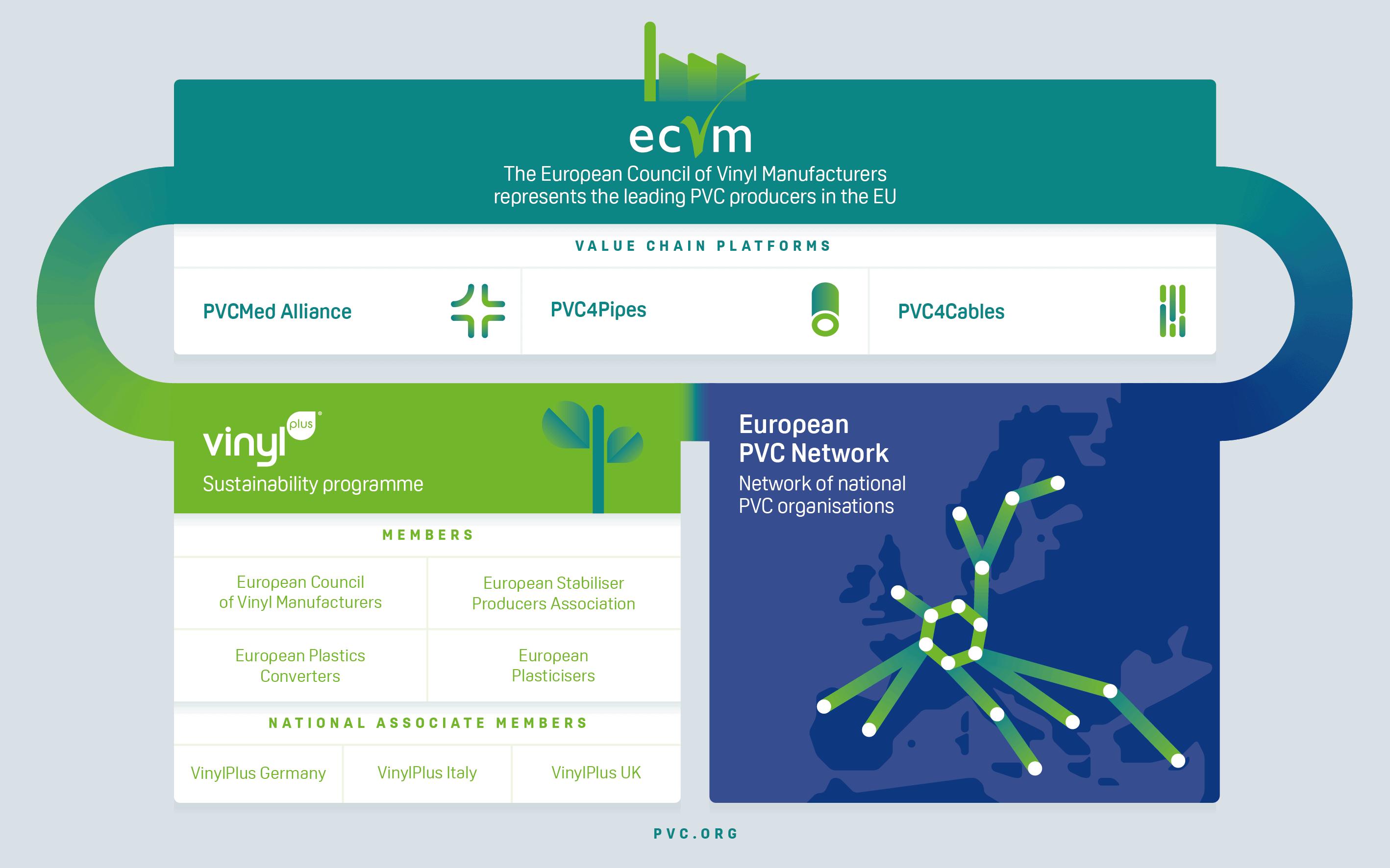 Diagram over ECVM's organisering